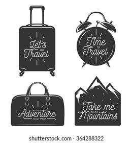 Travel typography set of design elements. Motivational quotes. Lets go travel. Its time to travel. Suitcase, bag, alarm clock and mountains silhouettes. Vintage vector illustration.
