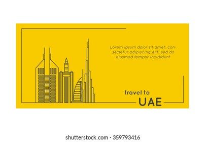 travel to uae quote style postcard. line flat modern vector illustration
