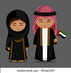 Travel to United Arab Emirates. People in national dress with a flag. Man and woman in traditional costume. Vector flat illustration.