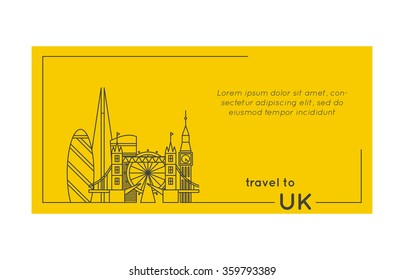 travel to united kingdom quote style postcard. line flat modern vector illustration