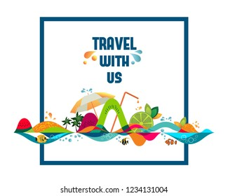 Travel with us - banner, tropical vacation concept, vector template illustration