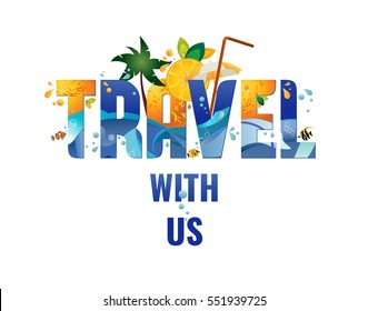 Travel with us - banner, tropical vacation concept, vector template illustration.
