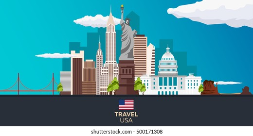 Travel to USA, New York Poster. Statue of Liberty. Vector illustration