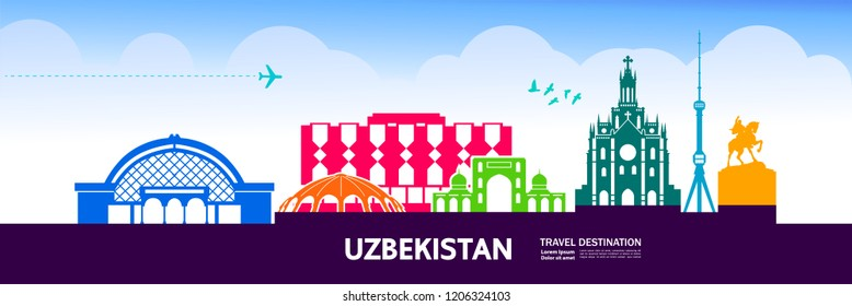 Travel To Uzbekistan vector illustration.