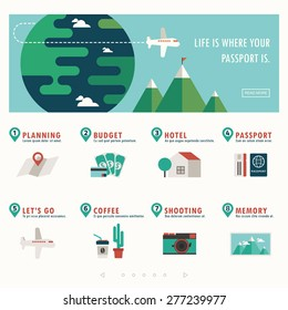 travel and vacation banner with infographic vector