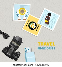 Travel and vacation concept. Photo camera and photos from travels. vector illustration.