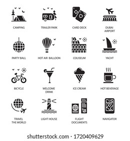 Travel, Vacation and Famous Landmarks glyph Icons - Vectors