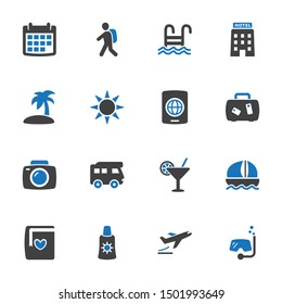 Travel & Vacation Icons in Blue Gray Color - Set 1