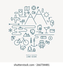 travel and vacation line icon infographic