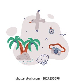 Travel or Vacation Objects Set, Tropical Palm Trees, Seagull, Camera, Journey on Holidays, Adventure, Tourism Cartoon Style Vector Illustration