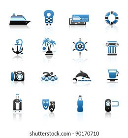 Travel, Vacation & Recreation, icons set. Sport, Tourism with reflection