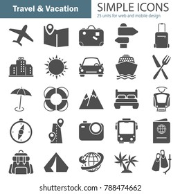 Travel and vacation simple icons set for web and mobile design