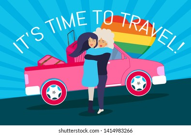 Travel vacations design picture of two gay girls, suitcase, case, bag, briefcase en isometric style and map, location icons, car. Text:It's time to travel! Vector illustration with background.