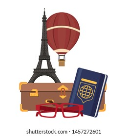 Travel vacations and summer eiffel tower with hot air balloon passport and suitcase with glasses cartoons
