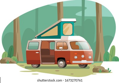 Travel van tourism camping in the forest vector