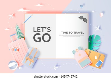 Travel various items in paper art style with pastel color scheme background vector illustration