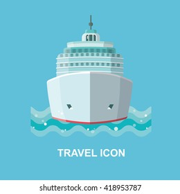 Travel Vector icon isolated. A cruise ship. Logo for travel agency