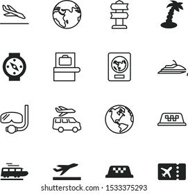 travel vector icon set such as: island, shape, tourist, diver, signpost, railroad, coco, ray, post, arrival, transfer, road, aeroplane, action, star, art, scanner, detector, guidance, bike, scooter