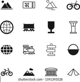 travel vector icon set such as: image, logistics, passenger, glass, paper, information, choice, yellow, application, campfire, bus, carriage, freight, pan, guide, tower, broken, pictogram