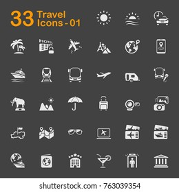 Travel vector icons for mobile phone interface, web and applications