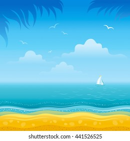 Travel vector illustration with beautiful beach sunny day landscape, sea background, palm tree leafs, sand coastline, sailing ship. For any tourism, vacation design template.