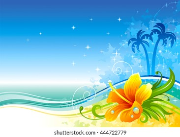 Travel vector illustration with beautiful beach day landscape, sea grunge background, tropical palm trees, sand coastline, hawaiian hibiscus flower. For any tourism, summer vacation design template.