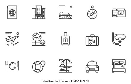 Travel Vector Line Icons Set. Hotel Services, Luggage, Passport. Editable Stroke. 48x48 Pixel Perfect.