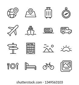 Travel Vector Line Icons Set. Airplane, Beach, Compass, Destination, Hotel, Transportation and more