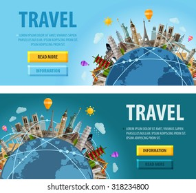 travel vector logo design template. vacation or city sights icons
