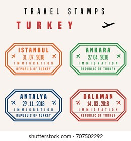 Travel vector - passport stamps set (fictitious stamps). Turkey destinations: Istanbul, Ankara, Antalya and Dalaman.
