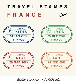Travel vector - passport stamps set (fictitious stamps). France destinations: Paris, Lyon, Nice and Tahiti.