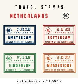 Travel vector - passport stamps set (fictitious stamps). Netherlands destinations: Amsterdam, Rotterdam, Eindhoven and Maastricht.
