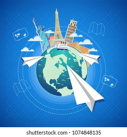 Travel vector poster concept. abstract globe with monuments and paper airplanes on gray flat background with pattern and icons