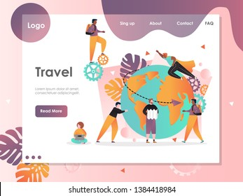 Travel vector website template, web page and landing page design for website and mobile site development. World traveling, international journey, summer vacation concept.