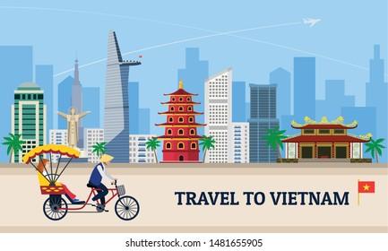 Travel to Vietnam concept banner. Flat illustration of travel to Vietnam vector concept banner for web design
