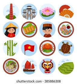 Travel to Vietnam. Set of vector illustrations. Vietnamese architecture, cuisine, costumes, traditional symbols, people. Collection of flat round icons for guidebook.