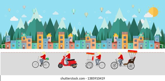 Travel to Vietnam, Transportation in Vietnam. Bicycle, tricycle, scooter. flat design