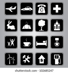 Travel, vocation and tourism vector icons