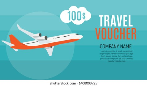 Travel Voucher 100 Dollar Template Background with Airplane. Vector Illustration EPS10