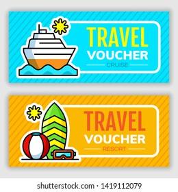 Travel voucher design template. Vector illustration