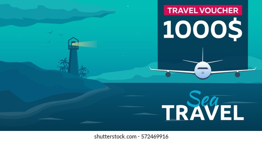 Travel voucher. Sea travel. Summer time. Sea background with waves, lighthouse and dolphins. Vector flat illustration
