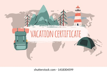 Travel voucher template design. Backpack, lighthouse, mountains and tent background. Banner, shop coupon, certificate or flyer layout. Stock vector
