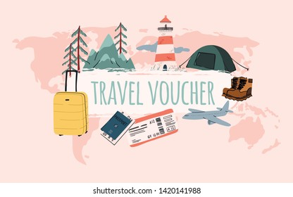 Travel voucher template design. Luggage, suitcase, lighthouse, mountains background. Banner, shop coupon, certificate or flyer layout. Stock vector