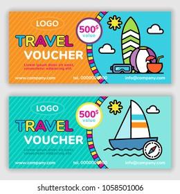 Travel voucher template. Vector illustration