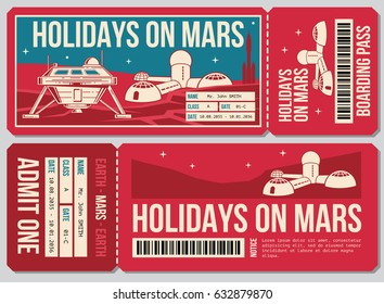 Travel voucher vector ticket. Holiday on Mars promo action