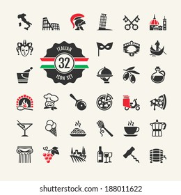 Travel - web icon set. Attractions, food and culture of Italy.