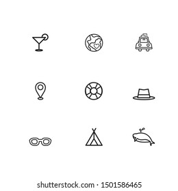 Travel web icon set - outline icon collection, Vector illustration on a white background