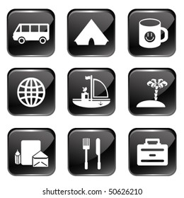 Travel Web Icons Set 1 (Square Glossy Buttons)