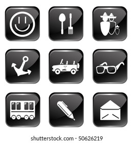Travel Web Icons Set 2 (Square Glossy Buttons)