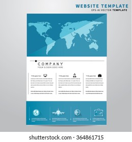 Travel Website Design Template With Icons